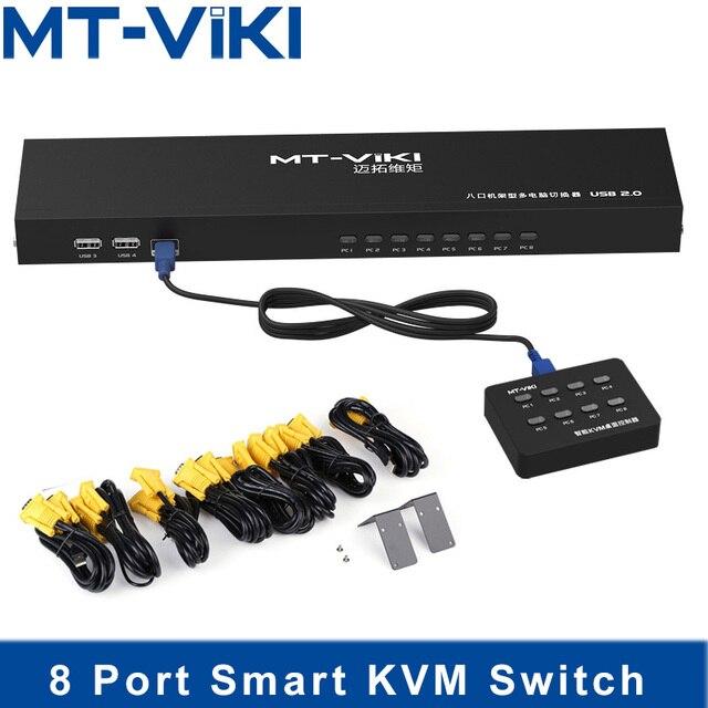 Mt ビッキー 8 ポートスマート kvm スイッチ手動キープレス vga usb 有線リモート延長スイッチャー 1U オリジナルケーブル MT 801UK l