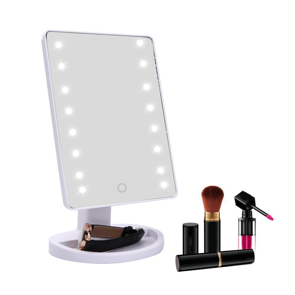 Touch Screen Makeup Mirror Professional Vanity Mirror With 16 LED Lights Adjustable Countertop 180 Rotating 22 led touch screen makeup mirror 10x magnifier bright lighted cosmetic makeup mirror portable vanity countertop 180 rotating