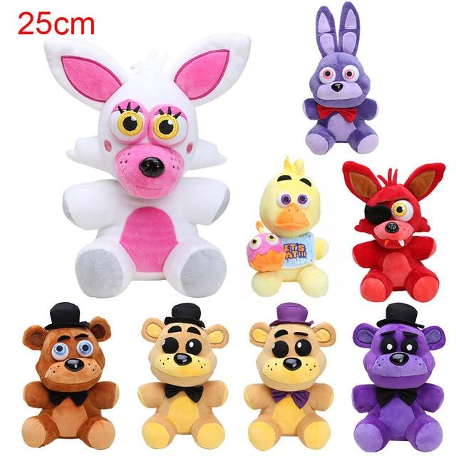 25 cm FNAF lima malam di freddy Fazbear Foxy dan teddy beruang mainan mewah  boneka boneka bef608f8fa