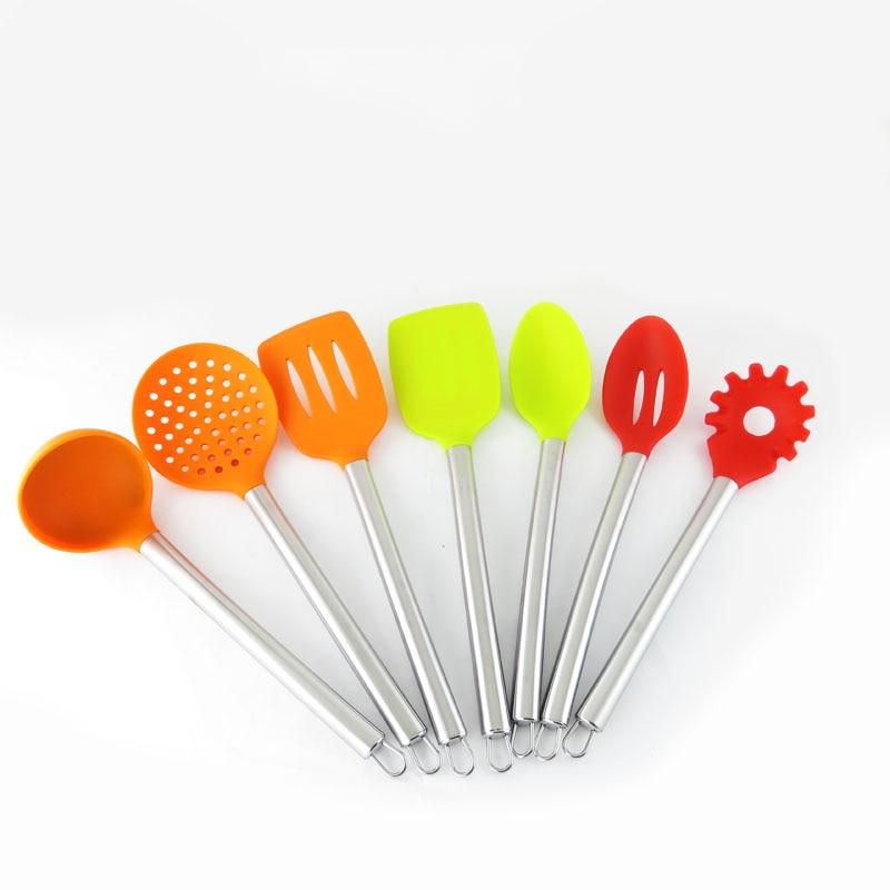 Silicone Kitchen Utensils 7 Piece Silicone Kitchen tools Spatula Spoon Ladle Spaghetti Server Slotted Turner