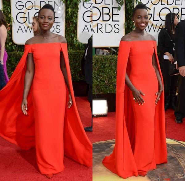 Robe de soirée Capet rouge prix Globe d'or Lupita épaule dénudée sexy Cape fantaisie Cape robes de soirée