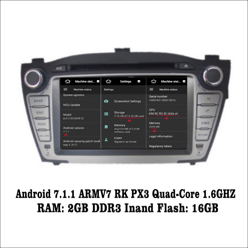 Android 7.1 2G RAM For Hyundai ix35 2009~2015 Car Radio Audio Video Multimedia DVD Player WIFI DVR GPS Navi Navigation