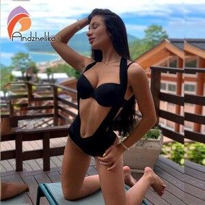 Image 1 - Andzhelika Bikini Patchwork, maillot de bain pour femmes, Push Up, Sexy, ensemble trois types de vêtements, loi, costume de bain