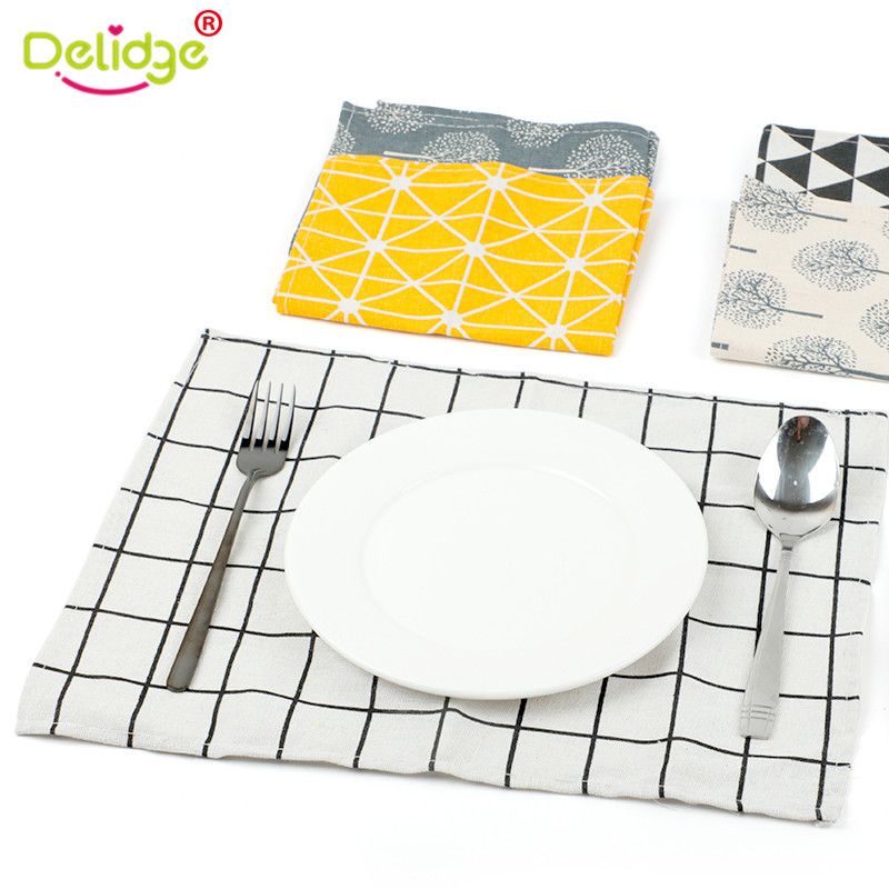 Kitchen,dining & Bar 1pc Strip Linen Napkins Heat Insulation Mat Dining Table Mat Comfortable Fabric Table Placemats Background 40.5*29.5cm Home Use Home & Garden