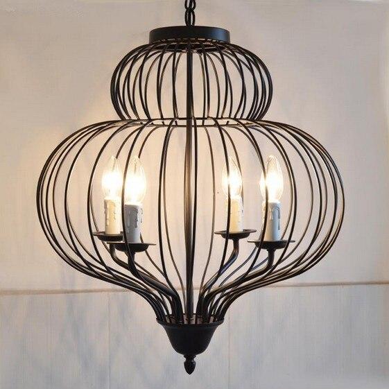 Vintage fer oiseau Cage décoration E14 bougie lustre suspension