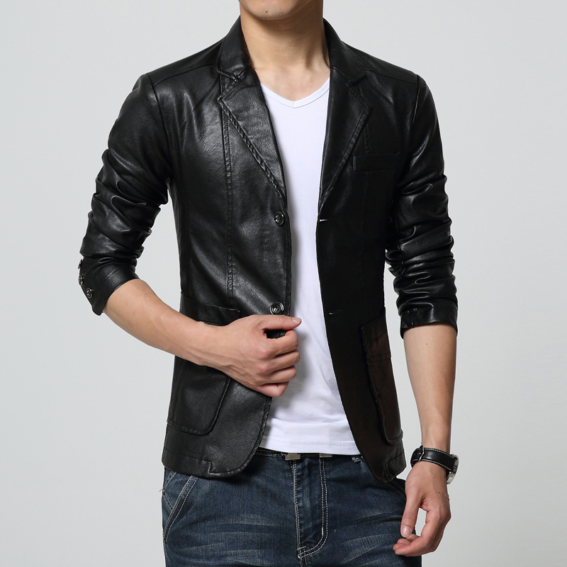 2019 New Men's Suit Jacket Faux Leather Solid Autumn Winter Casual Blazer Jackets Male White Slim Fit British Windbreaker Coat