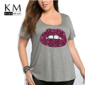 Kissmilk Plus Size New Fashion Women Solid Gray Red Lips Sequin T-shirt Big large Size Streetwaer Crew Neck Slim T-shirt 3XL-6XL