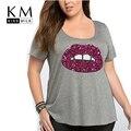 Kissmilk Plus Size Nuevas Mujeres Sólido Gris Labios Rojos Streetwaer lentejuelas T-shirt de gran Tamaño Grande de Cuello Redondo Camiseta Delgada 3XL-6XL