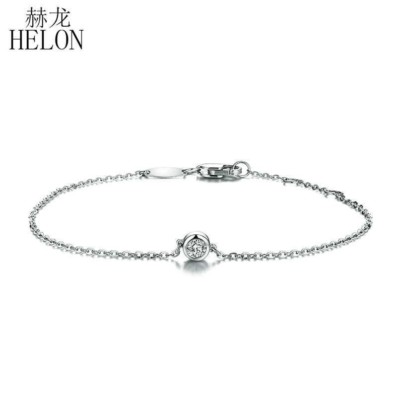 HELON Solid 18K White Gold 0.1ct F Color Lab Grown Moissanite Diamond Bracelet Test Positive For Women Trendy Style Fine Jewelry 18k white gold gh color moissanite pendant lab grown moissanite diamond necklace for women in fine jewelry