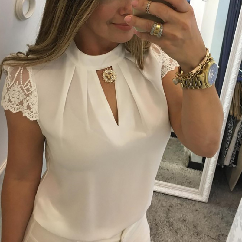 And Children Women Women Summer Blouse Elegant Hollow Out Lace Chiffon Cut-v Stand Collar Zipper Casual Cap Sleeve Tops 6q1915 Suitable For Men