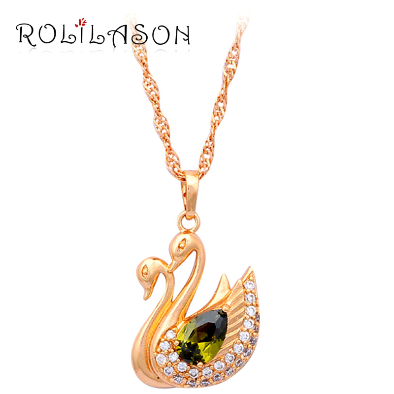 Green Goose fresh color gold tone Peridot AAA Zirconia Fashion Jewelry Necklaces Pendants for lady LN188