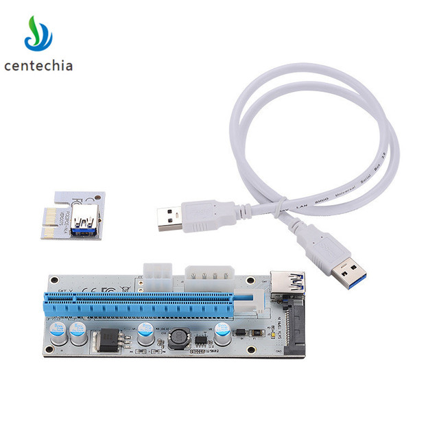 008 PC PCIe PCI-E PCI Express Riser Card 1x to 16x USB 3.0 Data Cable SATA to 4Pin IDE Molex Power Supply for BTC Miner Machine
