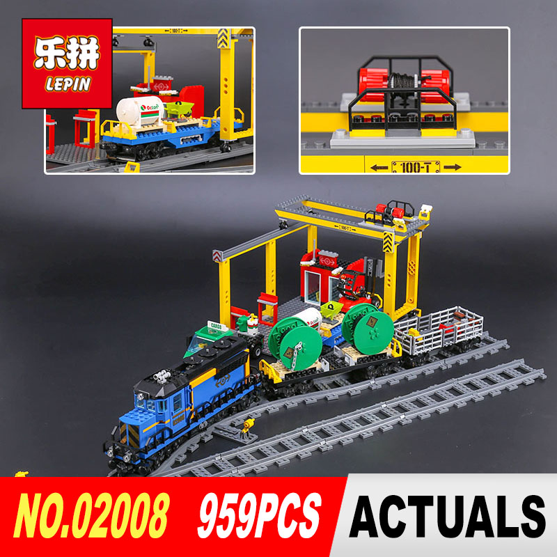 Lepin 02008 959Pcs City Series The Cargo Train Set 60052 Model Remote Control Building Blocks Bricks Toys for Children Gifts lepin city town city square building blocks sets bricks kids model kids toys for children marvel compatible legoe