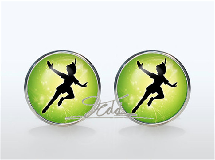 Peter Pan Cufflinks Silver plated Peter Pan moon Cuff links Accessories Superheroes jewelry green orange yellow gemelos men