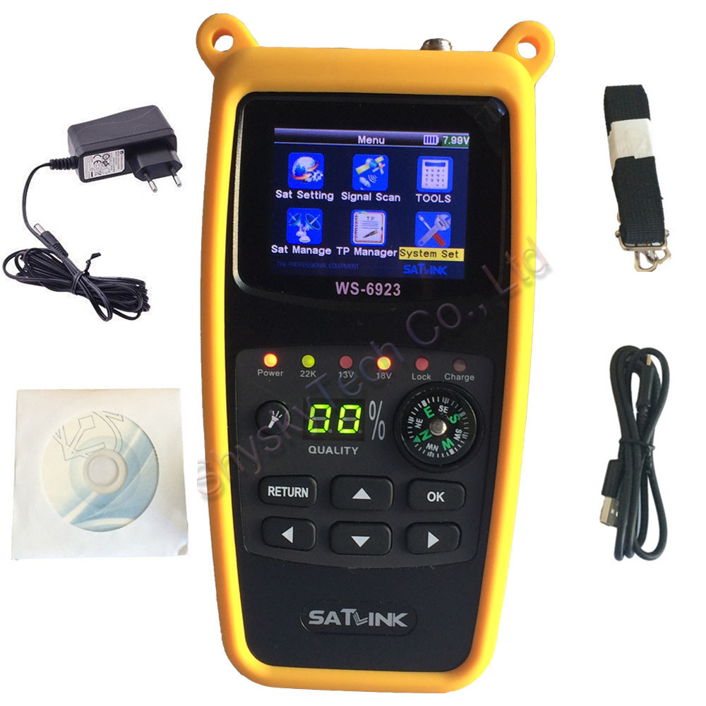 [Genuine] SATLINK WS-6923 DVB-S Digital Satellite Finder Meter Satellite TV Receiver 2.4 inch LCD with Compass original dvb t satlink ws 6990 terrestrial finder 1 route dvb t modulator av hdmi ws 6990 satlink 6990 digital meter finder
