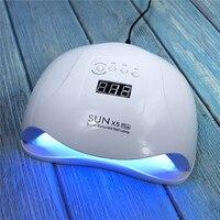 SUNX5PLUS 80W UV LED lampa do paznokci suszarka światło słoneczne lampa do paznokci do Manicure inteligentny wyświetlacz lcd do wszystkich UV lakier żelowy LED narzędzie do paznokci