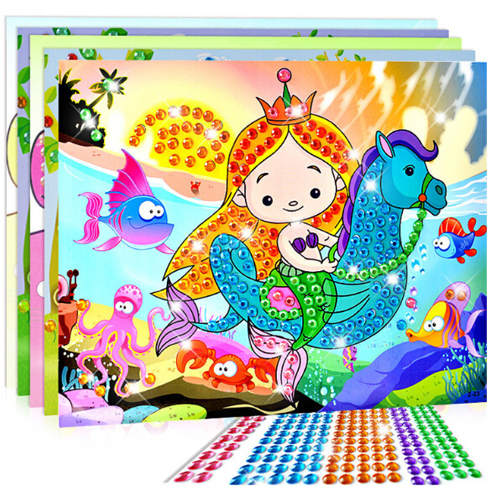 Colorful cartoon 2 in 1 diamond coloring drawing sticker for Quadri facili da dipingere