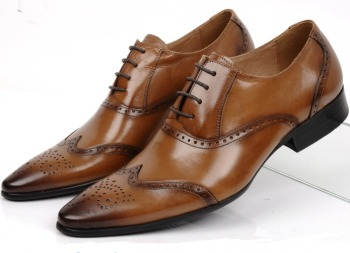 New Black / Brown Pointed Toe Oxfords Mens Wedding Shoes Genuine Leather Dress Shoes Boys Prom Shoes