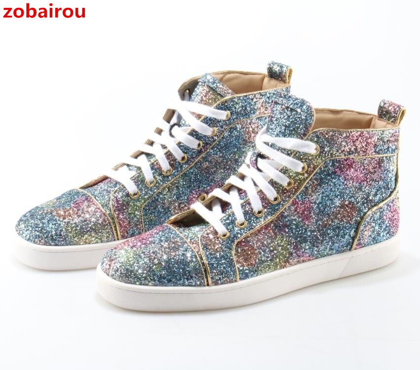 Zobairou 2018 New Designer Men Sneakers Sequin Glitter Embellished Strass Flat Shoes For Men Brand High Top Lace Up Casual Shoes black sequins embellished open back lace up top
