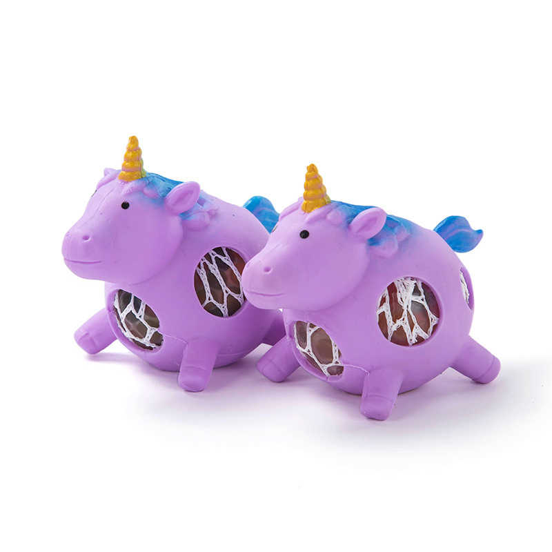 1 PC Squeeze Unicorn Anggur Ventilasi Bola Anti Stres Bola Anggur Manik-manik Ekstrusi Stres Pereda Mainan untuk Anak-anak Dewasa Lucu hadiah