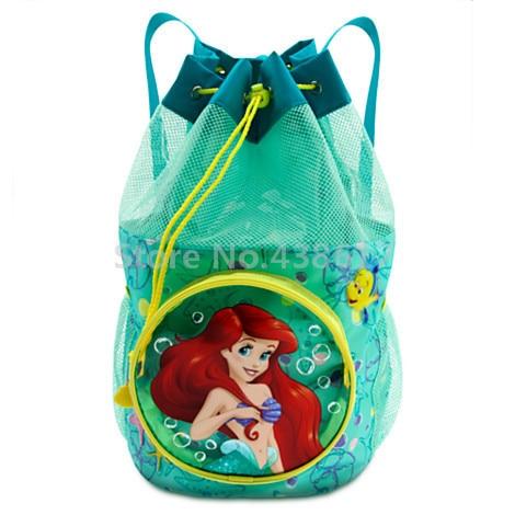 New Fashion Blue Little Mermaid Princess Ariel Backpack Pvc Beach Bag Waterproof Drawstring Kids Bags For