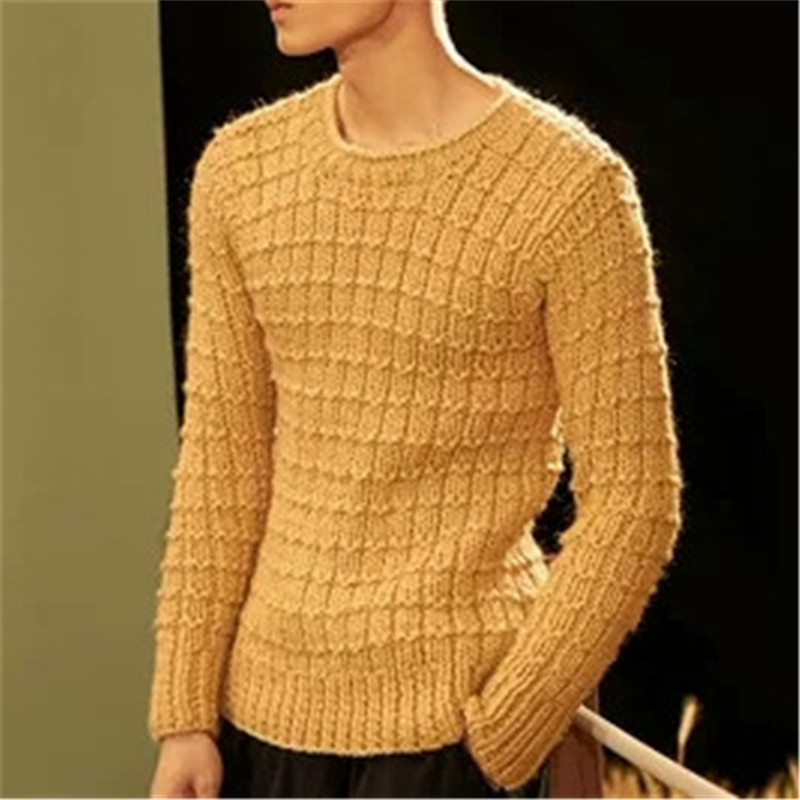 100% Hand Made Pure Wool Oneck Knit Men Fashion Solid Loose H-straight Pullover Sweater Customized