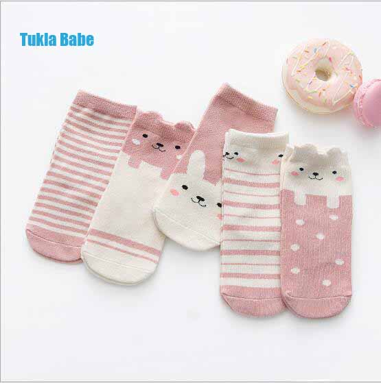 5Pairs Pack New Wholesale Children's Socks Autumn And Winter Cotton Three-dimensional Cartoon Striped 0-12 Year Baby Socks