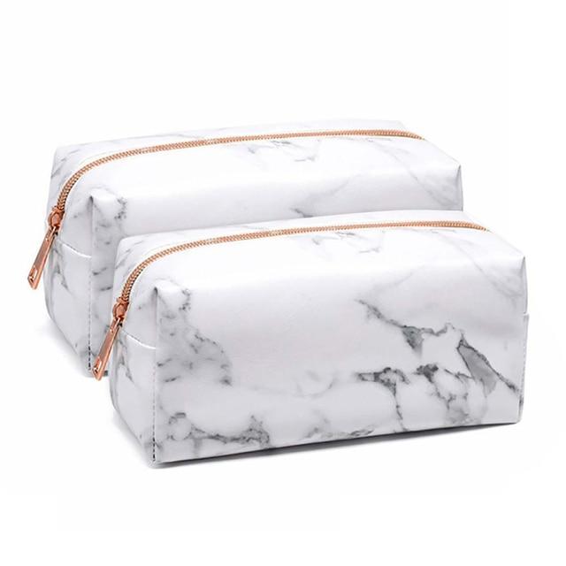 1 PCS Beauty Pattern Cosmetic Make Up Brushes Bag Portable Brushes Holder Marble Case Brush Bag Zipper Cosmetic Bag Makeup Tool