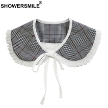 SHOWERSMILE Peter Pan Collars Women Grey Plaid Detachable Collar Female Pleated Houndstooth Ladies Bow British Fake False
