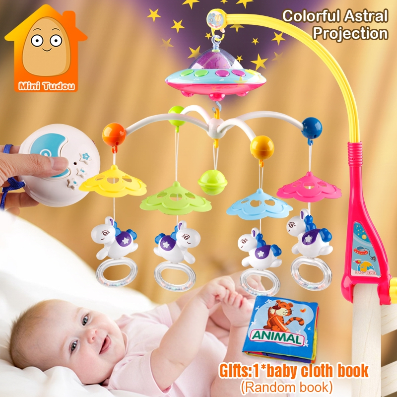 MiniTudou Baby Toys 0 12 Months Crib Mobile Musical Bed Bell With Animal Rattles Projection Cartoon Early Learning Kids Toy