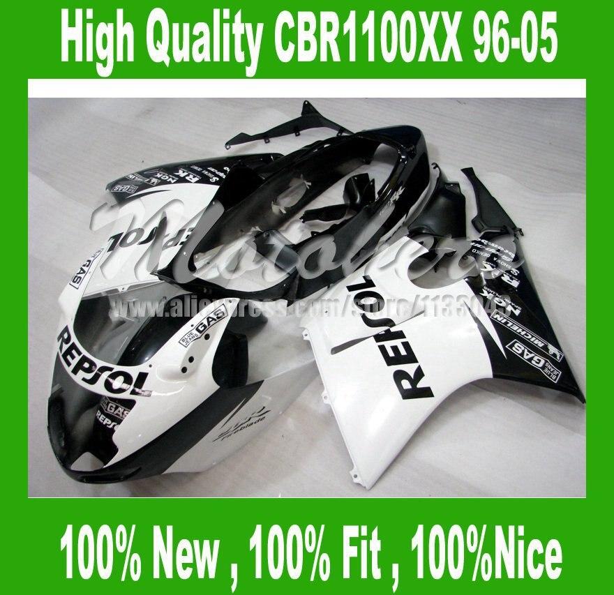 REPSOL Fairing for Honda CBR1100XX 1996 2005 CBR1100 XX 96 05 CBR 1100XX 96 05 CBR 1100 XX 96 05 fairings kit White black #729LC