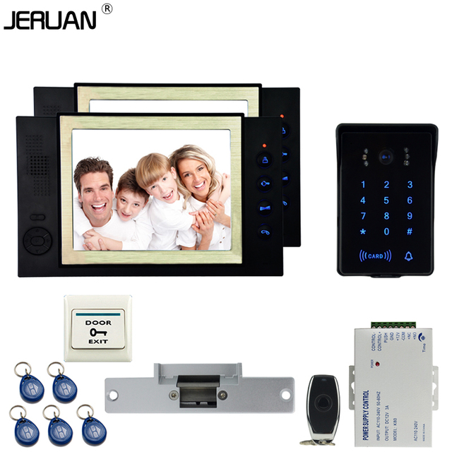 JERUAN New RFID waterproof Touch Key password keypad Camera Home Wired 8`` TFT video door phone Record intercom system kit 1V2