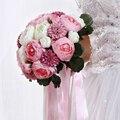 Элегантный Свадебный Букет Розовый Искусственный Пион Цветок с Жемчугом Ручкой Ручной buque де noiva 1 Шт. Бесплатная Доставка