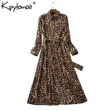 Vintage Leopard Print Sashes Long Shirt Dress Women 2019 Fashion Long Sleeve Animal Pattern Maxi Dresses Casual Vestidos Mujer