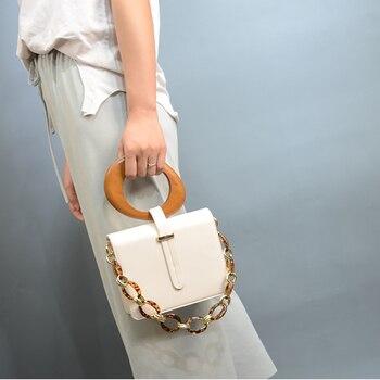 Fashion Acrylic Chain Women Shoulder Bags Designer Wooden Handle Handbags Luxury PU Leather Crossbody Bag Ladies Small Purses