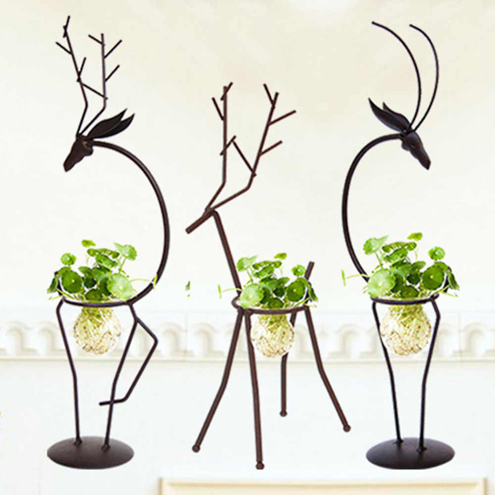 Creative Hydroponic Plant Transparent Glass Vase with Iron Deer Design Stand Holder for Home Living Room Table Decoration
