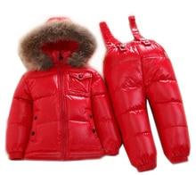 Дети комбинезоны зимняя одежда Установить девушки Лыжный костюм утолщаются хлопка пальто теплые шубы куртки + брюки комбинезоны