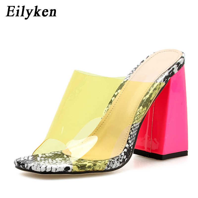 Eilyken PVC jöle seksi şeffaf bayanlar terlik yaz moda serpantin parti topuklu ayakkabı gladyatör slaytlar sandalet