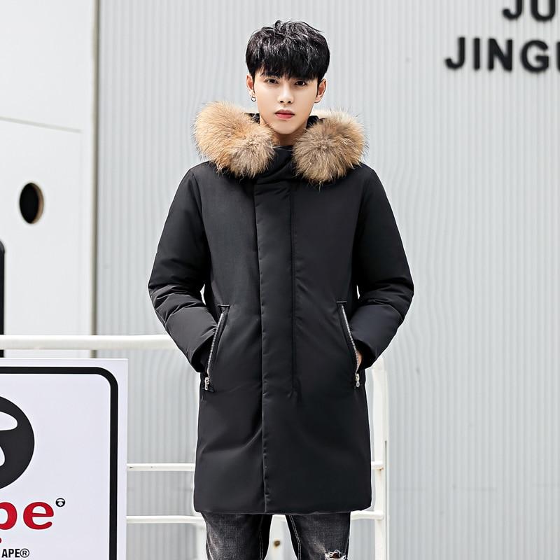 Men Duck   Down   Long Jacket Fur Collar   Coat   Man Winter Warm Thicken Parkas Windproof   Down     Coat   For Man Parka Jacket
