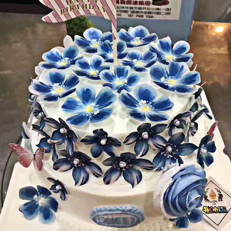 40 PRECUT Blue Blossom Flowers Edible wafer//rice paper cake//cupcake toppers