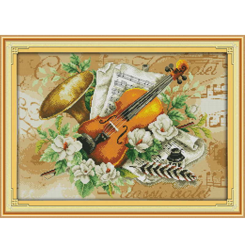 Вышивка скрипка и цветок