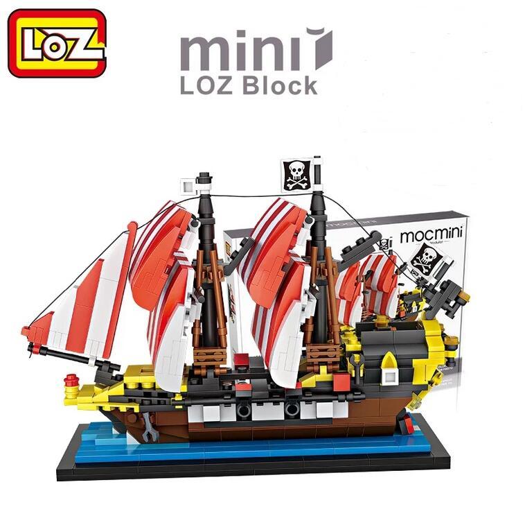 LOZ 1211 Black Seas Barracuda Pirate Ship Mini Block 653PCS Scrap Dock Building Blocks DIY Construction Bricks Christmas gift цена