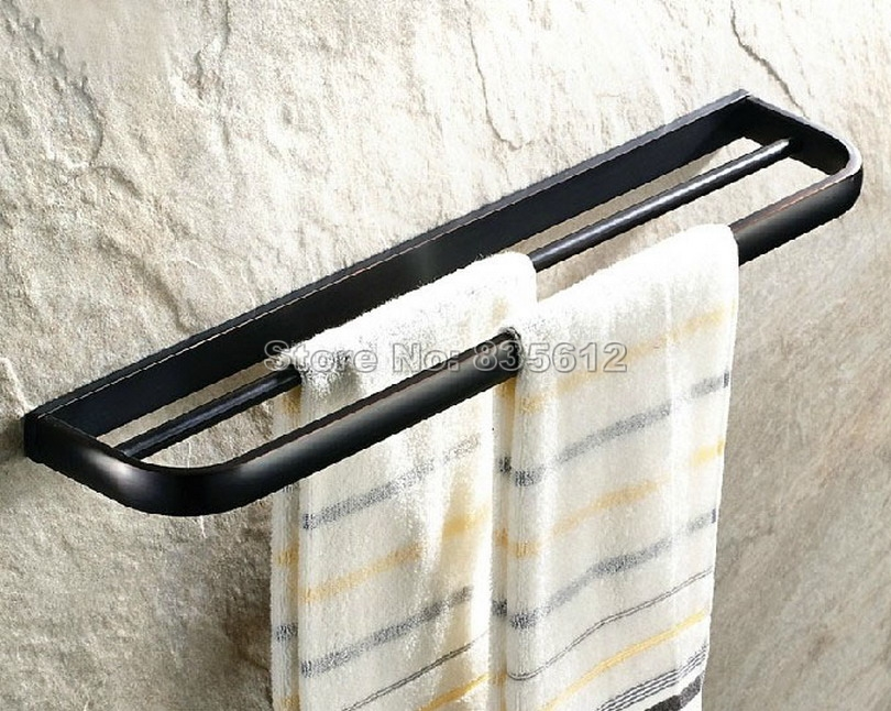 Bathroom Accessories Black Oil Rubbed Bronze Double Bar Towel Holder Wba191 free postage oil rubbed bronze tooth brush holder double ceramic cups holder