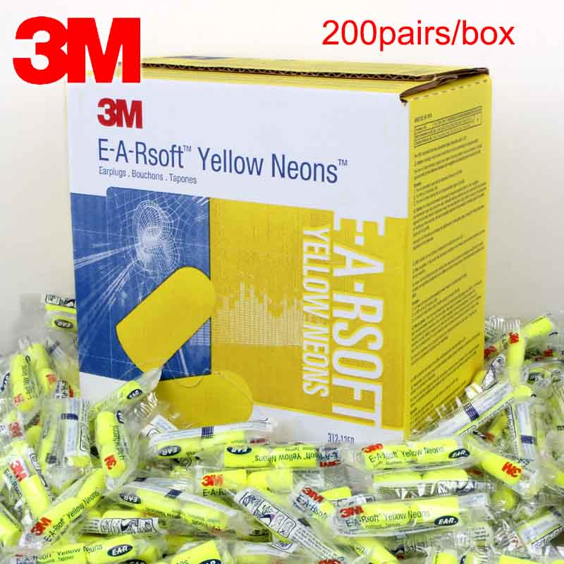 3M Bullet Earplugs E-A-RSoft Yellow Neon 312-1250 Elastic Noise Reduction Wireless NRR:33dB/SNR:36dB LT086