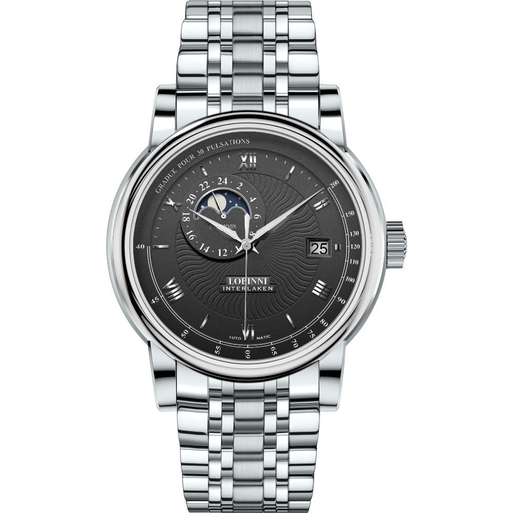 LOBINNI для мужчин модные бизнес 50 м непромокаемое платье автоматические механические наручные часы с датой, ночь день окно, 24 час формат