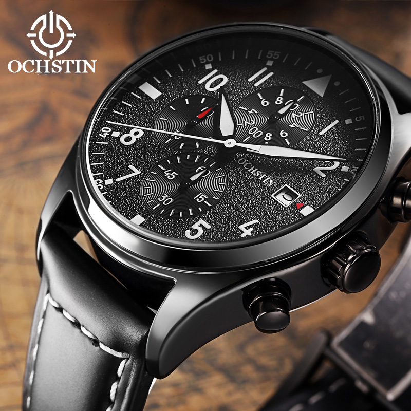 OCHSTIN De Luxe Hommes Montre À Quartz Montre-Bracelet Chronographe Horloge Mâle XFCS Mode Hommes Montre-Bracelet Hodinky Relogio Masculino