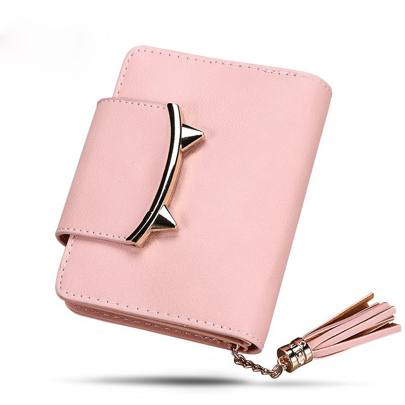 Tassel short womem wallets lovely cat mini organizer card holder rfid wallets zipper coin Cash pocket portefeuille femme Clutch