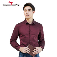 Seven7 2017 Autumn Fashion Brand Men Long Sleeve Dress Shirt Slim Fit Solid Casual Male Shirt