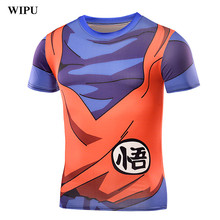 WIPU 2017 New Men's Fashion Goku Dragon Ball 3D Print Casual Short Sleeve Cosplay T-Shirt Compression Tshirts Fitness ZOOTOP
