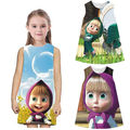 Kids Baby Girls Masha And The Bear Summer Party Dress Cartoon Printed Clothes